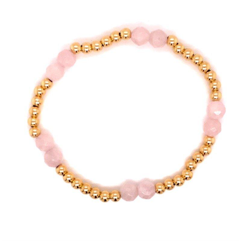 Dee Berkley Rose Quartz and Gold Filled Bead Stretch Bracelet