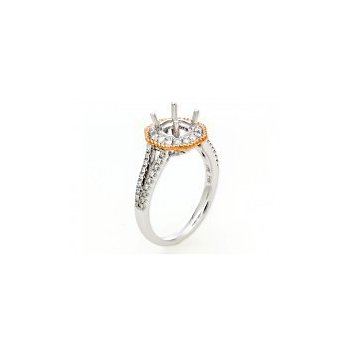 Geometric Diamond Halo Two-Tone Engagement Ring