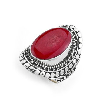 Silver Coral Bali Ring