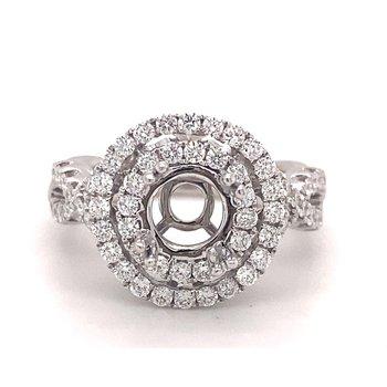 Round Diamond Double Halo Twist Band Engagement Ring