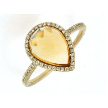Citrine & Diamond Halo Ring