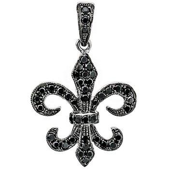 Black Diamond Mardi Gras Fleur De Lis Pendant