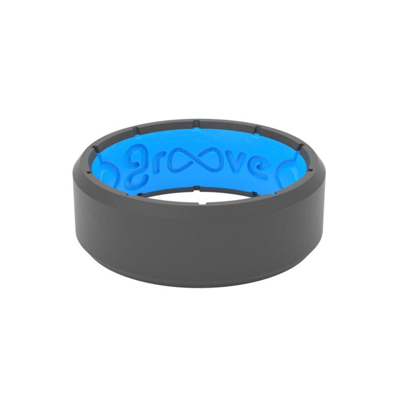 Groove Life Edge Deep Stone Grey/Blue Silicone Ring - Size 12