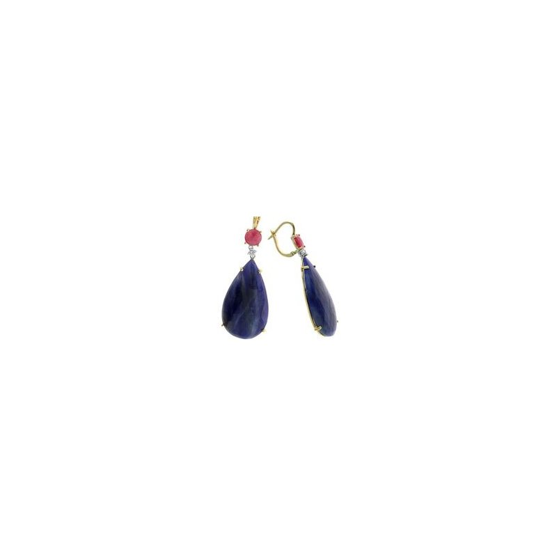 Murphy Pitard Signature Collection Pear Sapphire and Ruby Diamond Accented Dangle Earrings
