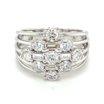 Round & Baguette Diamond Fashion Split Band Ring