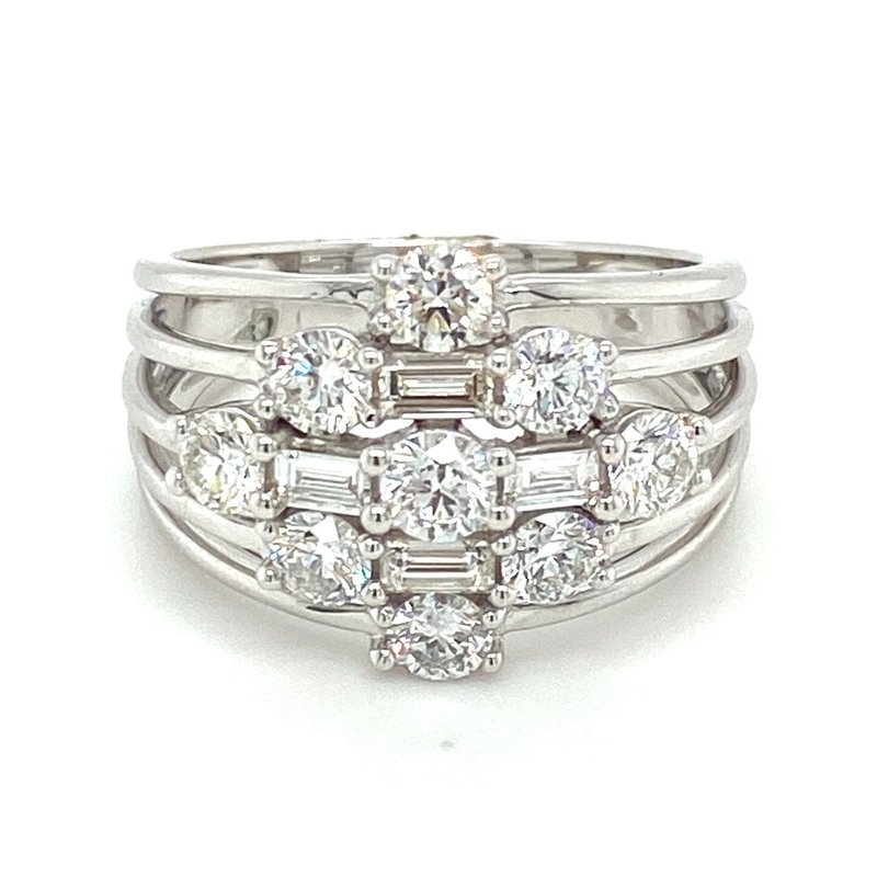 Murphy Pitard Signature Collection Round & Baguette Diamond Fashion Split Band Ring