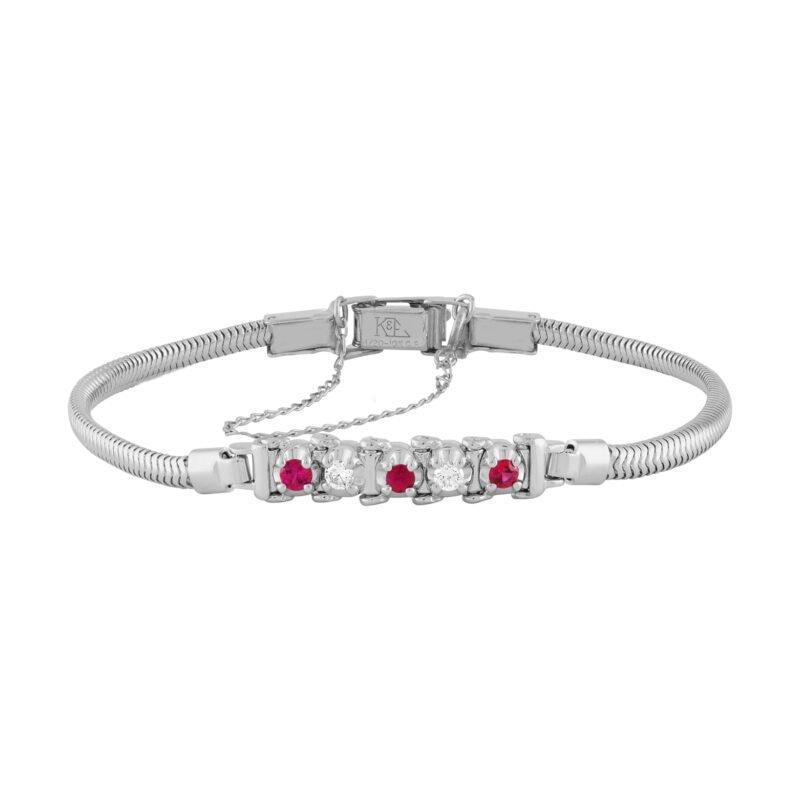 Kaspar and Esh Tennis Style Diamond & Ruby Starter Bracelet
