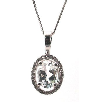 White Topaz & Diamond Halo Pendant Necklace