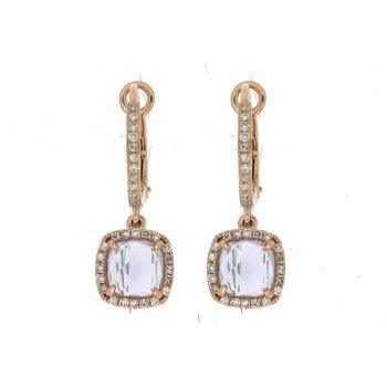 Diamond & Amethyst Dangle Hoop Earrings