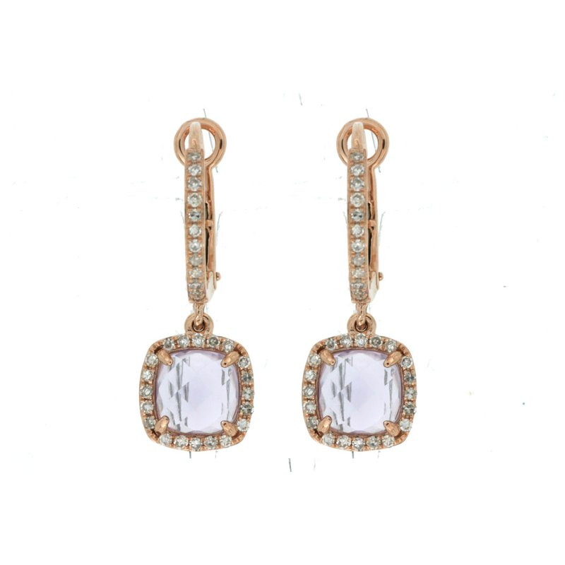 Murphy Pitard Signature Collection Diamond & Amethyst Dangle Hoop Earrings