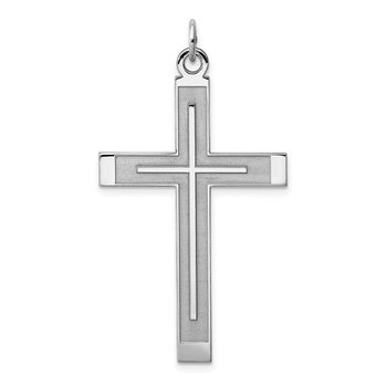 Large Satin & Polished Cross Pendant