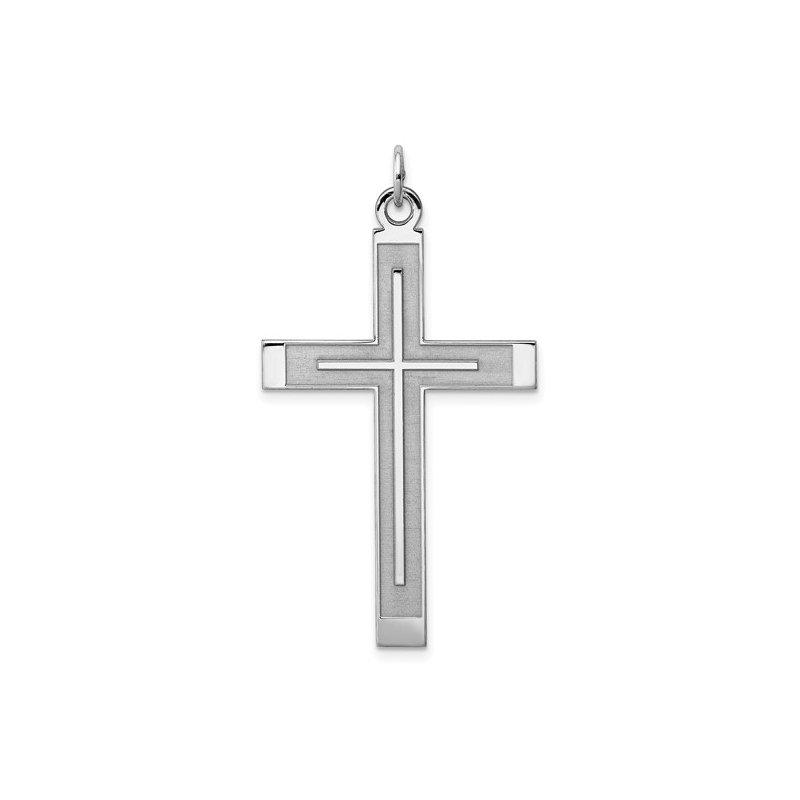 Murphy Pitard Signature Collection Large Satin & Polished Cross Pendant