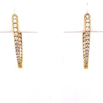 """Diamond """"V"""" Inside Out Hoop Earrings"""