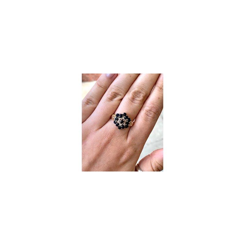 Murphy Pitard Estate Collection Diamond & Sapphire Vintage Cluster Ring
