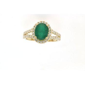 Diamond Halo Oval Emerald Ring