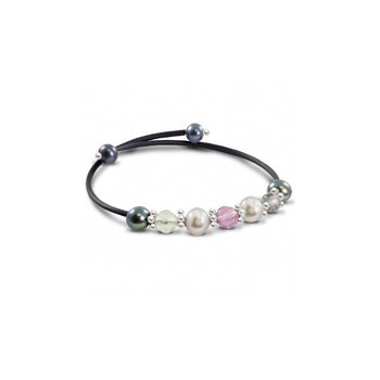 Freshwater Grey Pearl & Gemstone Bangle Bracelet