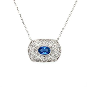 Vintage Inspired Sapphire & Diamond Necklace
