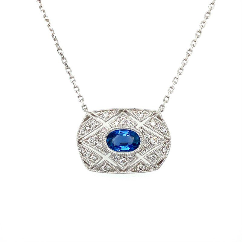 Murphy Pitard Signature Collection Vintage Inspired Sapphire & Diamond Necklace