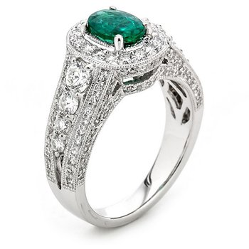 Vintage Inspired White Gold Diamond and Emerald Ring