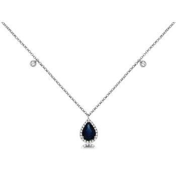 Pear Cut Sapphire Diamond Halo Necklace