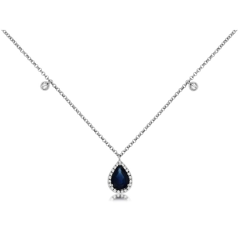 Murphy Pitard Signature Collection Pear Cut Sapphire Diamond Halo Necklace