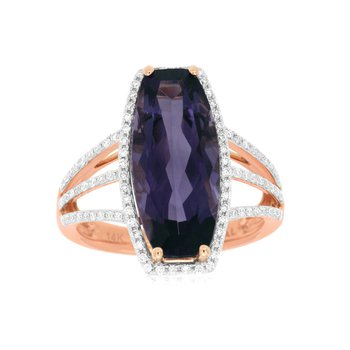 Amethyst & Diamond Halo Fashion Ring