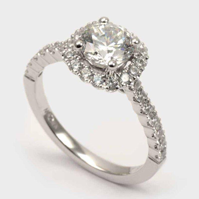 Diadori (Cheri Dori) Diamond Cushion Halo Engagement Ring