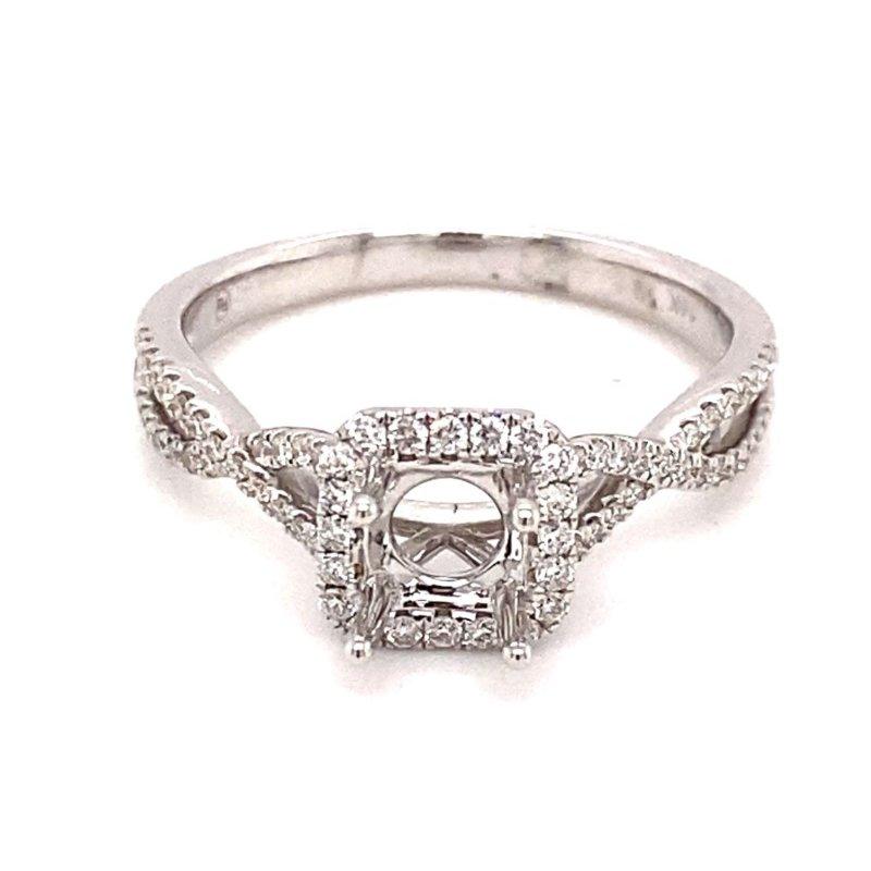 Murphy Pitard Signature Collection Diamond Halo Twisted Band Engagement  Ring