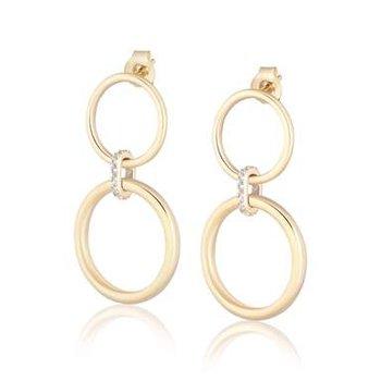 White Zircon Double Ring Hoop Earrings