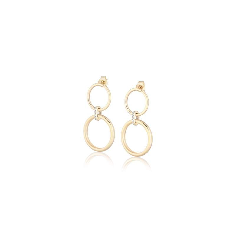 ela rae new york city White Zircon Double Ring Hoop Earrings