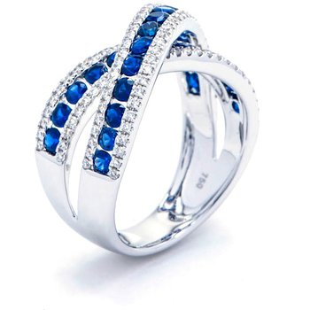 Diamond and Sapphire Criss-Cross Ring