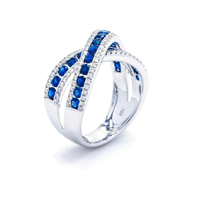Murphy Pitard Signature Collection Diamond and Sapphire Criss-Cross Ring