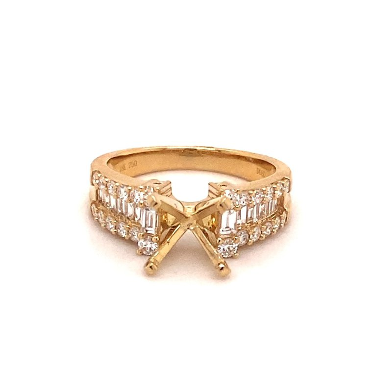 Murphy Pitard Signature Collection Round Diamond Engagement Ring With Diamond & Baguette Diamond Accents