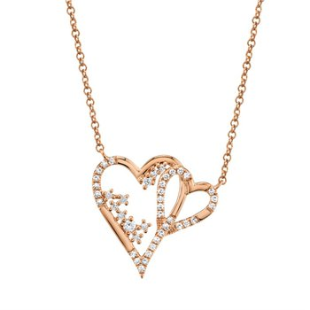 Diamond Double Open Heart Necklace