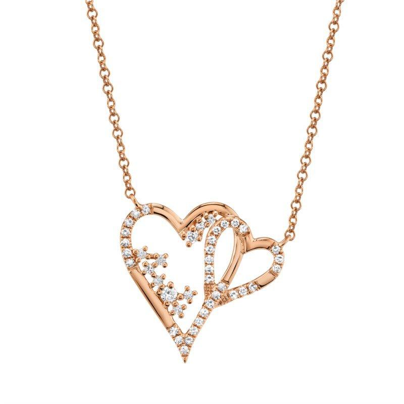 Shy Creation Diamond Double Open Heart Necklace