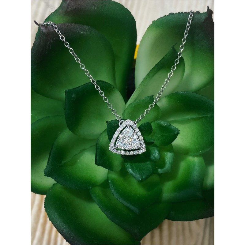 Murphy Pitard Signature Collection Diamond Triangle Halo Necklace