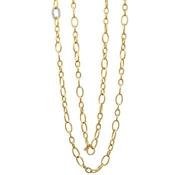 Pavé Diamond Oval Link & High Polish Fancy Link Necklace