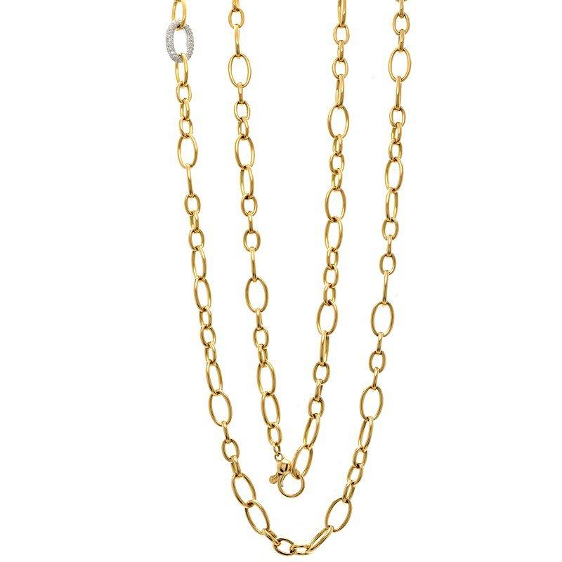 Murphy Pitard Signature Collection Pavé Diamond Oval Link & High Polish Fancy Link Necklace