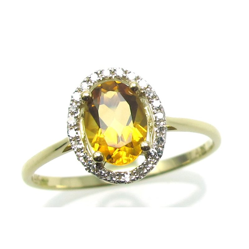 Murphy Pitard Signature Collection Citrine & Diamond Halo Ring