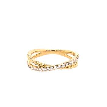 Diamond & Polished Bead Criss Cross Ring