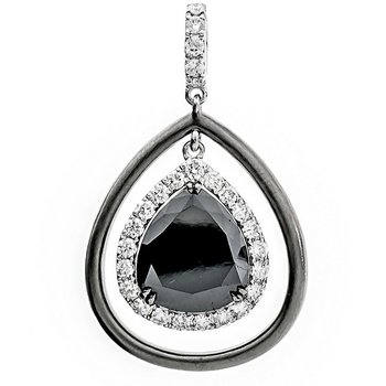 Pear Shaped Black Diamond Pendant