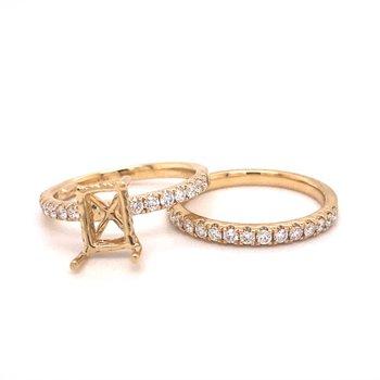 Emerald Diamond Engagement Wedding Set