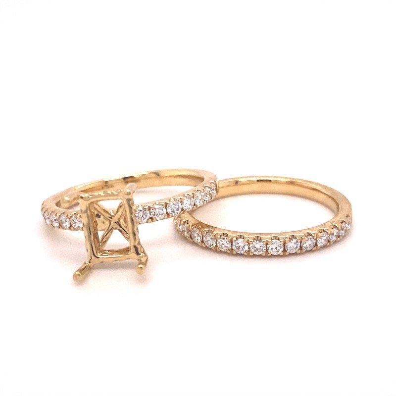 Murphy Pitard Signature Collection Emerald Diamond Engagement Wedding Set