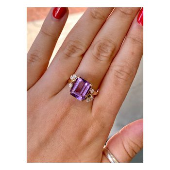 Amethyst & Cubic Zirconia Fashion Ring
