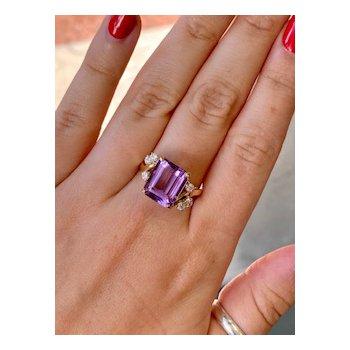Amethyst & Cubic Zirconia Fashion Ring