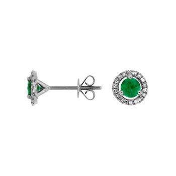 Emerald Diamond Halo Stud Earrings