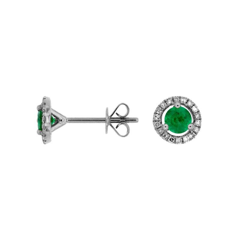 Murphy Pitard Signature Collection Emerald Diamond Halo Stud Earrings