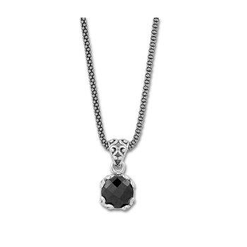 Black Spinel Drop Pendant Necklace