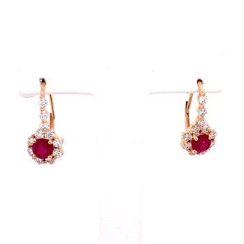 Ruby & Diamond Drop Halo Earrings
