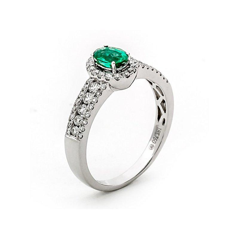 Murphy Pitard Signature Collection Oval Emerald Diamond Halo Ring